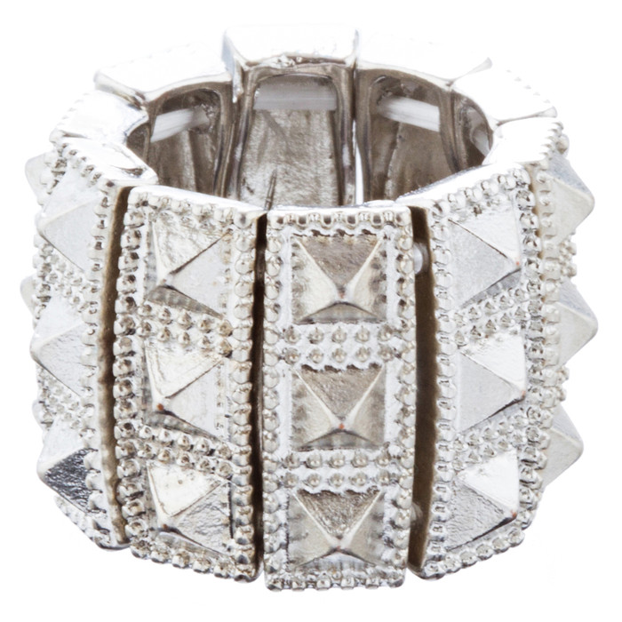 Stylish Chic 3 Rows Spike Design Stretch Fashion Ring R221 Silver