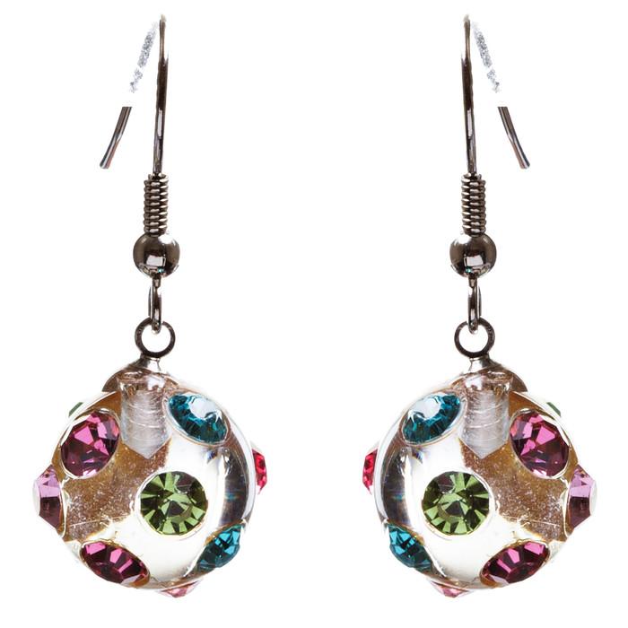Crystal Studs Earrings Linear Drop Lucite Ball Multi
