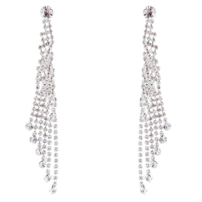 Bridal Wedding Jewelry Crystal Rhinestone Dazzling Drape Dangle Earrings E983 SV