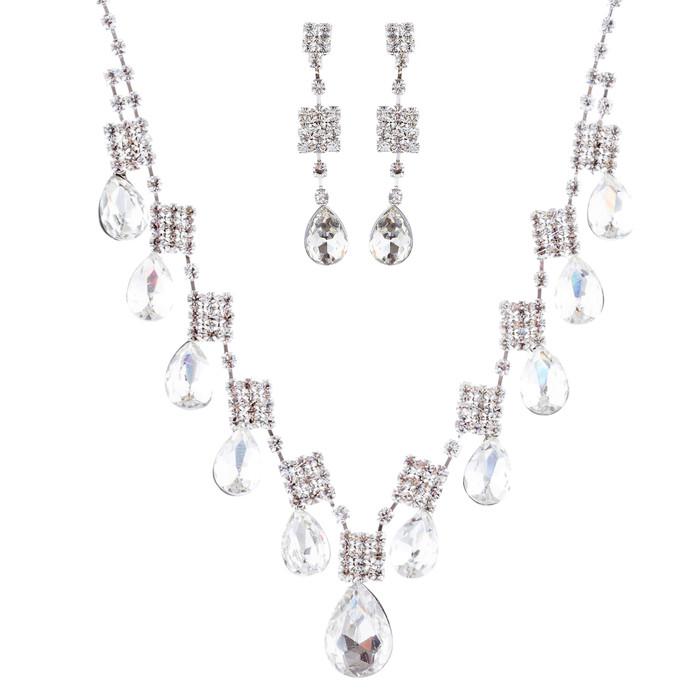Bridal Wedding Jewelry Crystal Rhinestone Square Teardrop Dangles J677 Silver