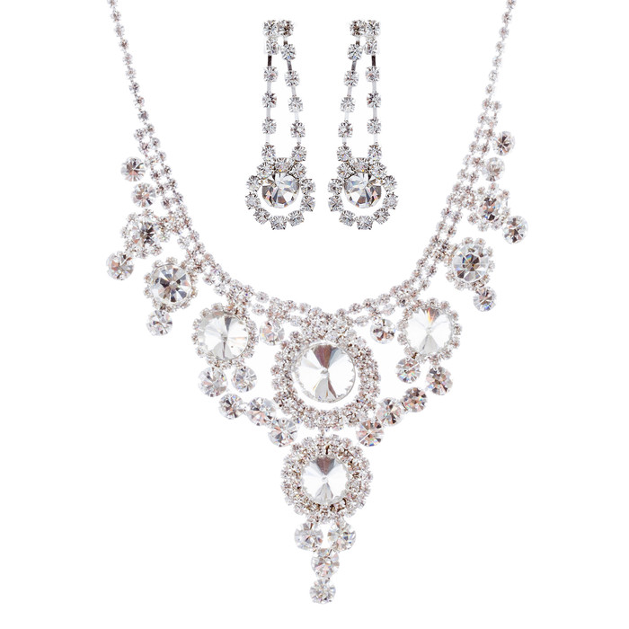 Bridal Wedding Jewelry Crystal Rhinestone Stunning Shine Necklace Set J679 SV