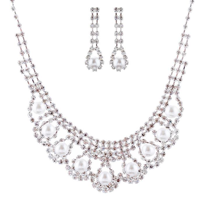 Bridal Wedding Jewelry Crystal Rhinestone Pearl Gorgeous Necklace Set J680 SV