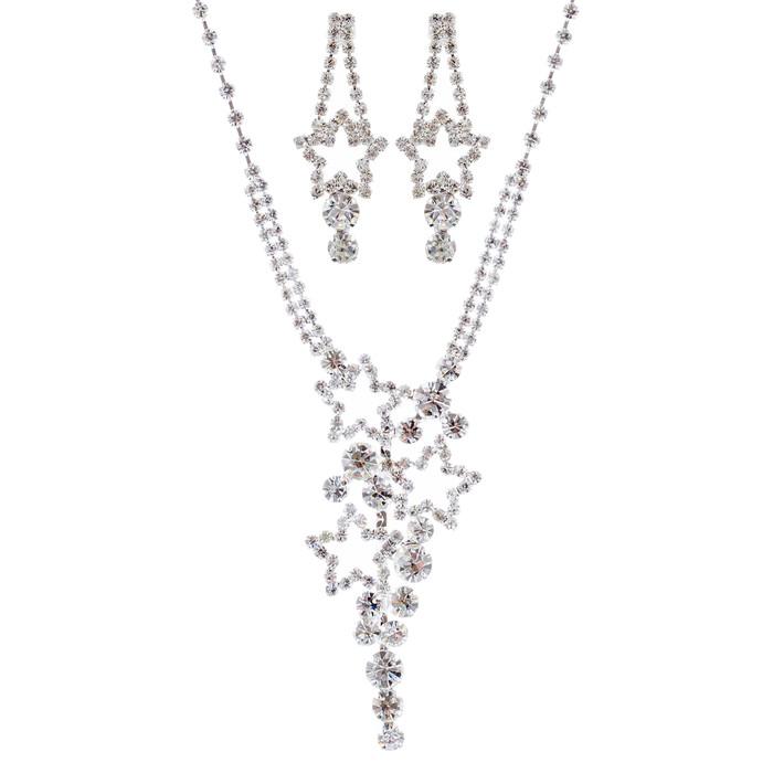 Sparkling Stars Crystal Rhinestone Fashion Necklace Earrings Set J693 Silver
