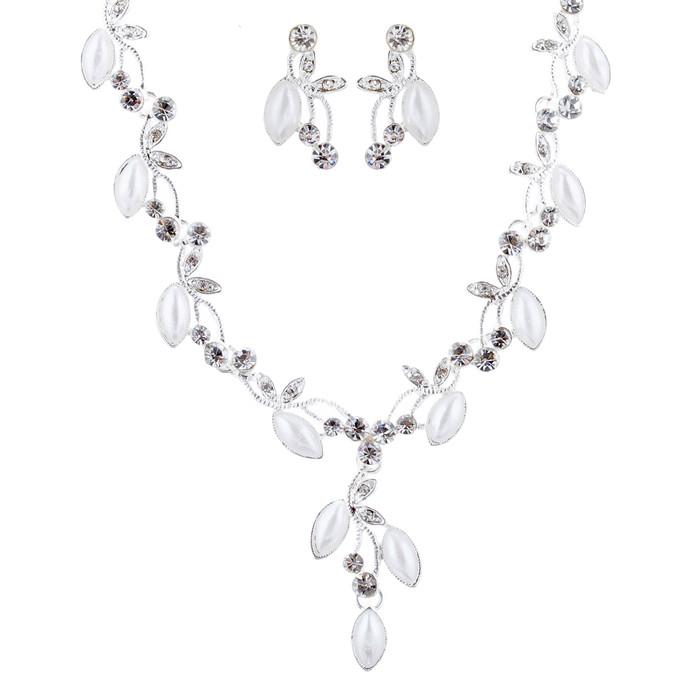 Bridal Wedding Jewelry Crystal Rhinestone Pearl Charming Necklace Set J694 SV