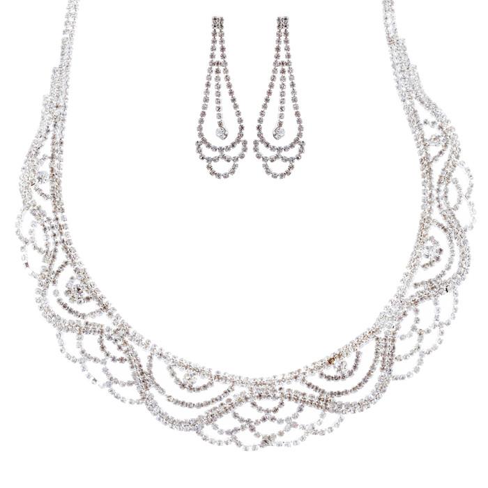 Bridal Wedding Jewelry Crystal Rhinestone Striking Classy Necklace Set J697 SV