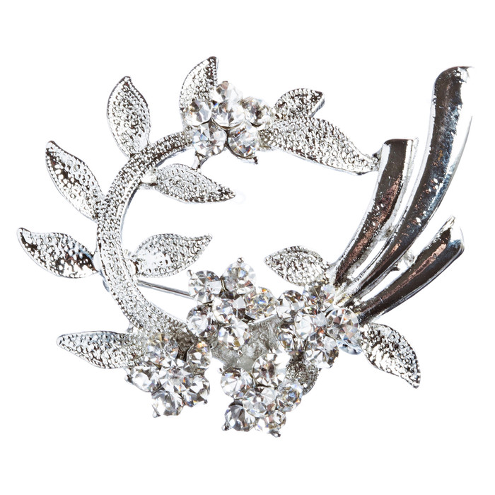 Bridal Wedding Jewelry Crystal Rhinestone Beautiful Brooch Pin BH170 Silver