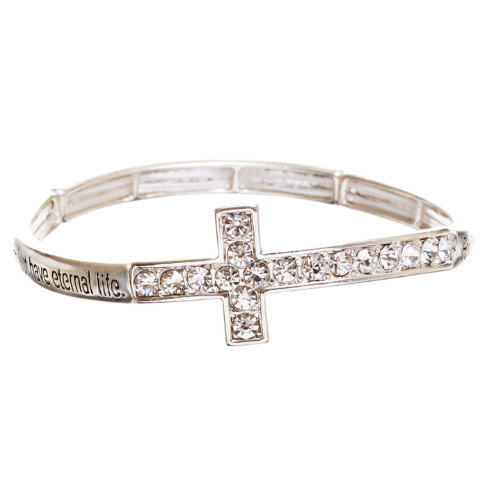 Cross Jewelry Crystal Rhinestone Simple Charm Stretch Bracelet B509 Silver
