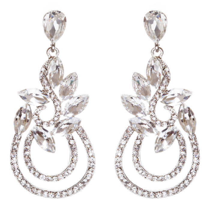 Bridal Wedding Jewelry Crystal Rhinestone Elegant Dangle Earrings E951 Silver