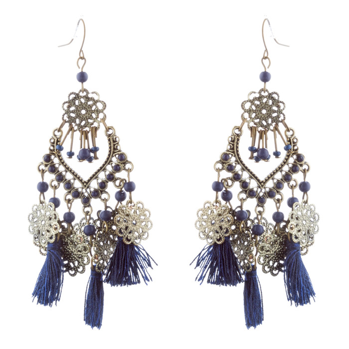 Beautiful Statement Fashion Style Tassel  Beads Dangle Earrings E952 Blue