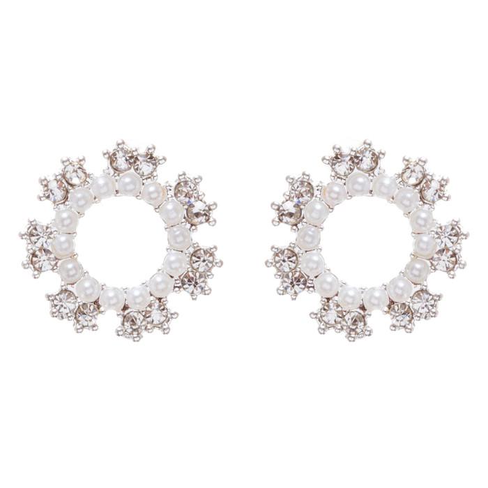 Bridal Wedding Jewelry Prom Rhinestone Pearl Simple Round Charm Earrings E963 SV