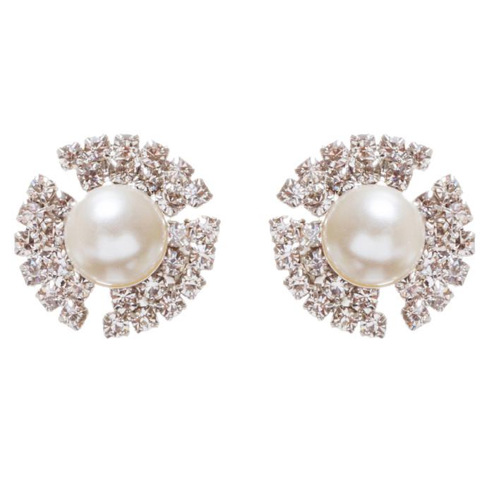 Bridal Wedding Jewelry Rhinestone Pearl Simple Stud Style Earrings E965 Silver