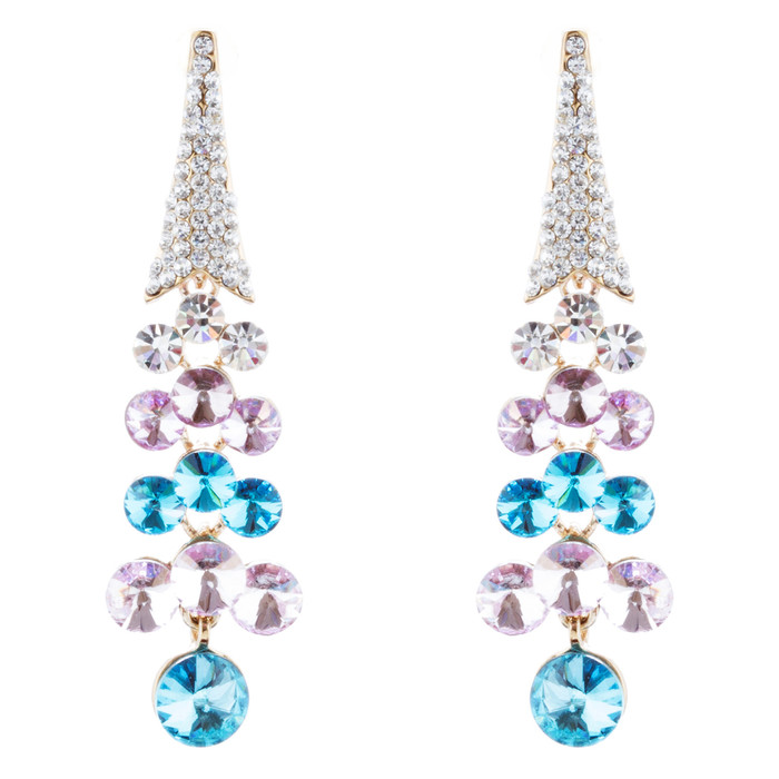 Dressy Beautiful Sparkle Crystal Rhinestone Dangle Fashion Earrings E966 Blue