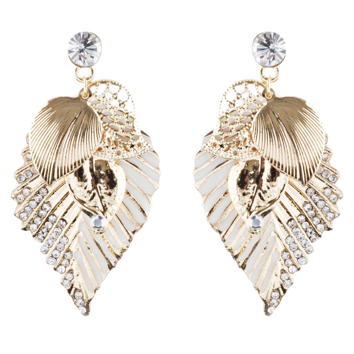Gorgeous Crystal Rhinestone Leaf Pattern Dangle Fashion Earrings E970 Gold