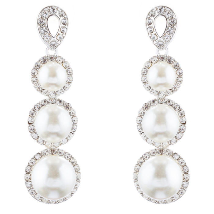 Bridal Wedding Jewelry Crystal Rhinestone Pearl Linear Drop Earrings E976 Silver