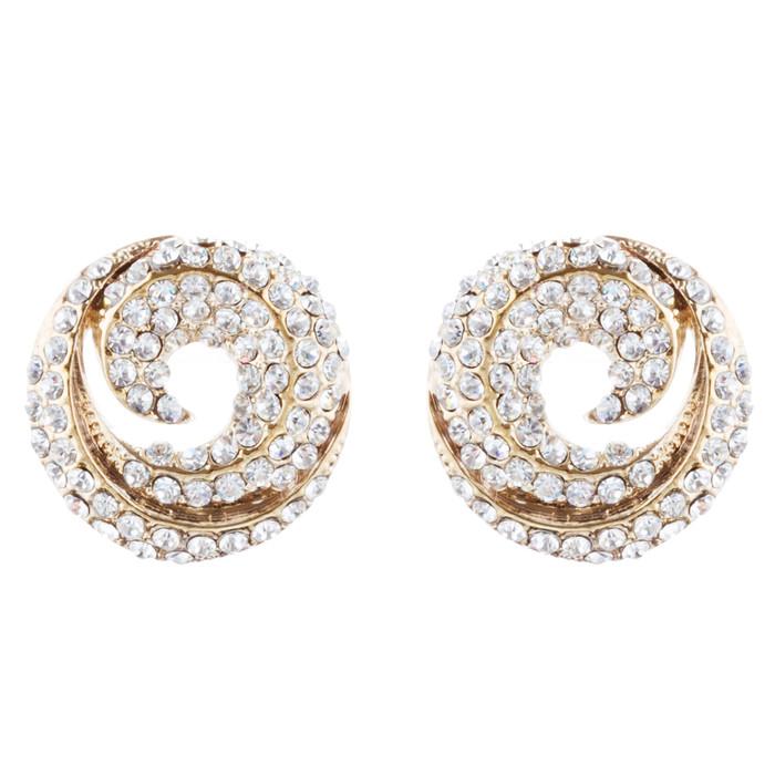 Bridal Wedding Jewelry Crystal Rhinestone Simple Classy Earrings E979 Gold