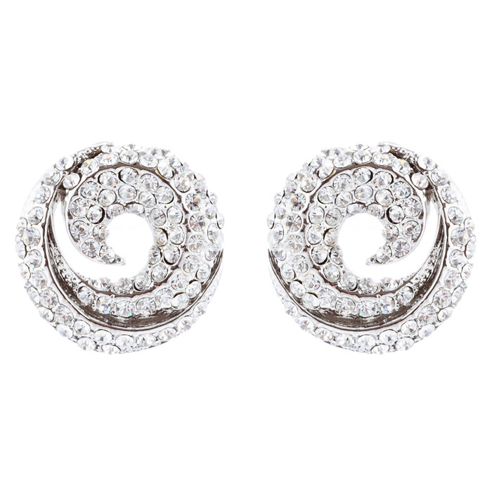 Bridal Wedding Jewelry Crystal Rhinestone Simple Classy Earrings E979 Silver