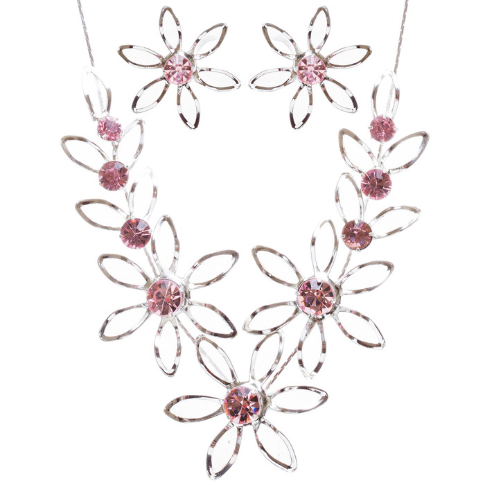 Bridal Wedding Jewelry Prom Rhinestone Adorable Mesh Necklace Set J659 Pink
