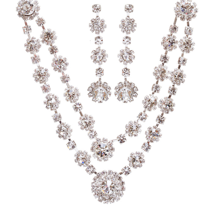 Bridal Wedding Jewelry Prom Crystal Rhinestone Stunning Necklace Set J660 Silver