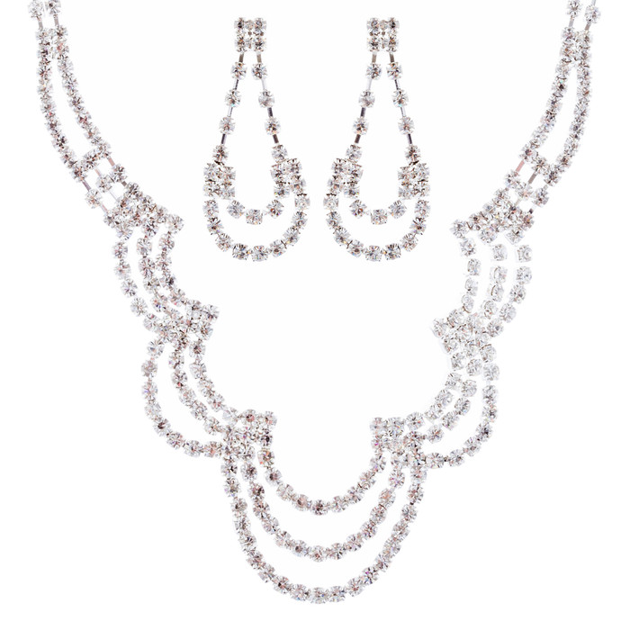 Bridal Wedding Jewelry Crystal  Rhinestone Beautiful U Drop Necklace Set J667 SV