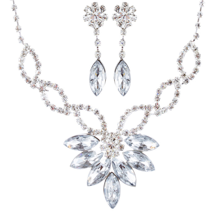 Bridal Wedding Jewelry Prom Rhinestone Beautiful Glamorous Necklace Set J672 SV