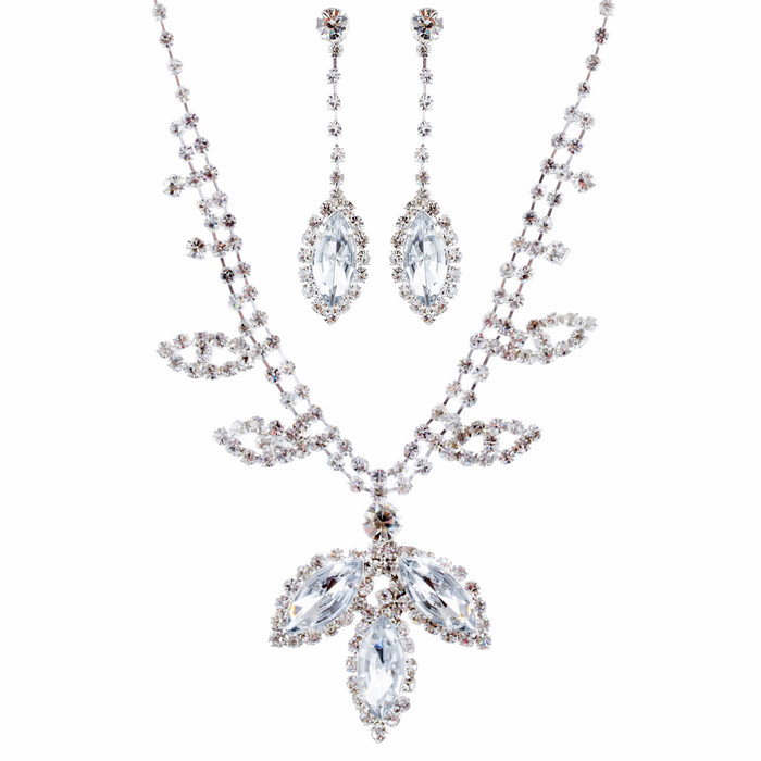 Bridal Wedding Jewelry Prom Rhinestone Fascinating Sparkle Necklace Set J673 SV