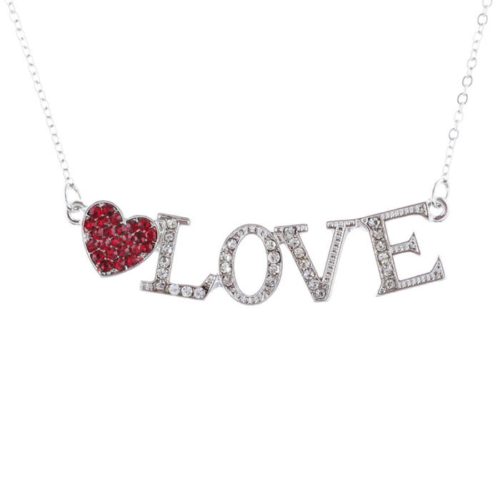 Valentines Jewelry Love Heart Charm Crystal Rhinestone Necklace N95 Red
