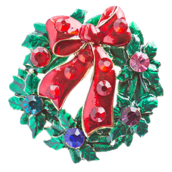 Christmas Jewelry Crystal Rhinestone Wreath Charm Brooch Pin BH146 Red Green