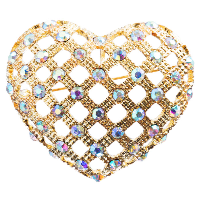 Valentine's Day Jewelry Crystal Rhinestone Fascinating Heart Brooch B158 Gold