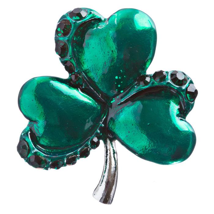 St. Patrick's Day Jewelry Crystal Rhinestone Splendid Clover Leaf Brooch B160 SV