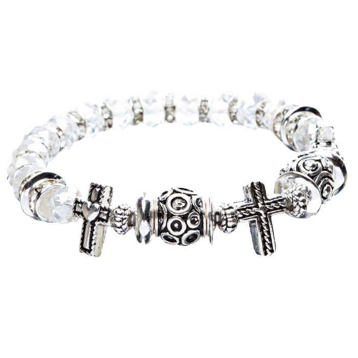 Cross Jewelry Crystal Rhinestone Fascinating Stretch Bracelet B463 White