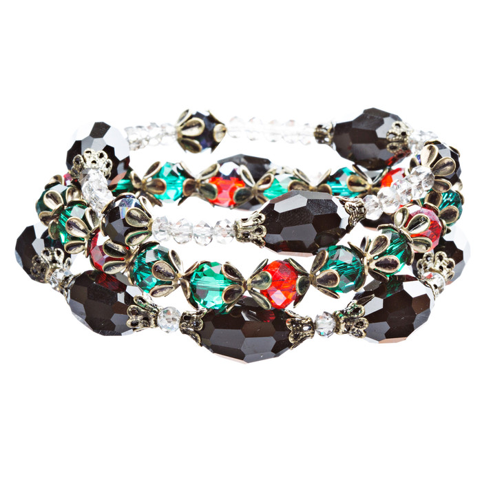 Modern Fashion Crystal Rhinestone Vibrant Fun Wrap Stretch Bracelet B465 Multi