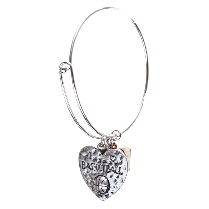 Sports Theme Fashion Crystal Rhinestone Adorable Heart Bracelet B494 Basketball