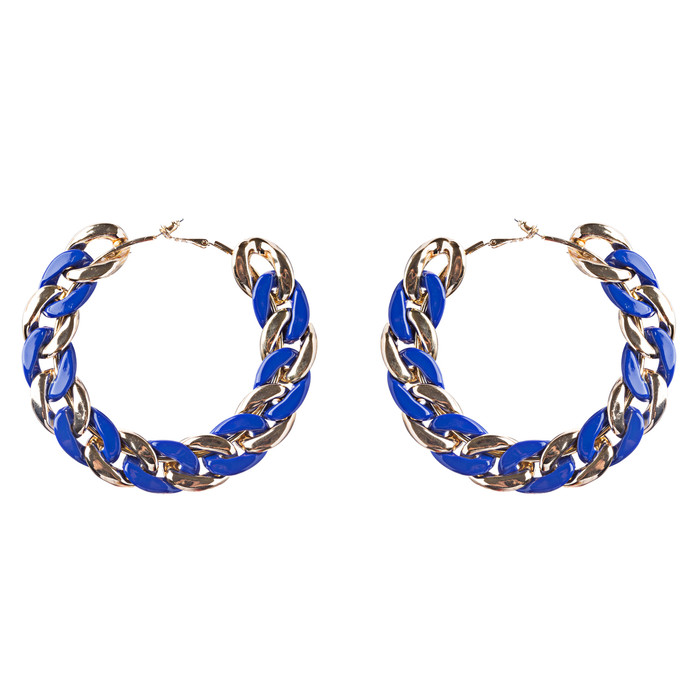 Modern Fashion Unique Intertwined Chain Links Pattern Hoop Earrings E780 Blue