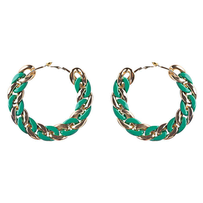 Modern Fashion Unique Intertwined Chain Links Pattern Hoop Earrings E780 Green
