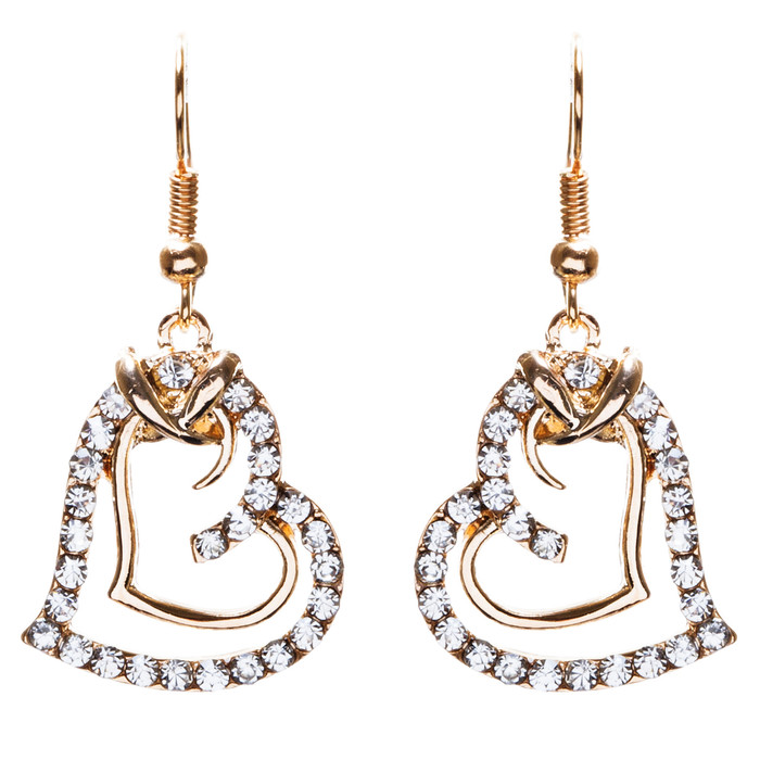 Charming Valentine Theme Fashion Crystal Rhinestone Heart Earrings E906 Gold
