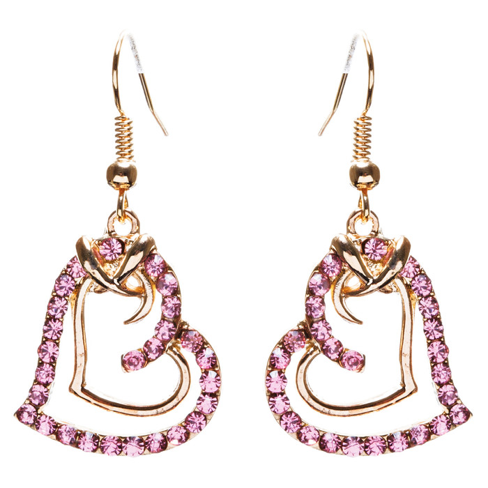 Charming Valentine Theme Fashion Crystal Rhinestone Heart Earrings E906 Pink