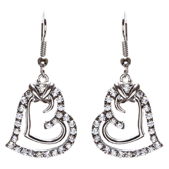 Charming Valentine Theme Fashion Crystal Rhinestone Heart Earrings E906 Silver
