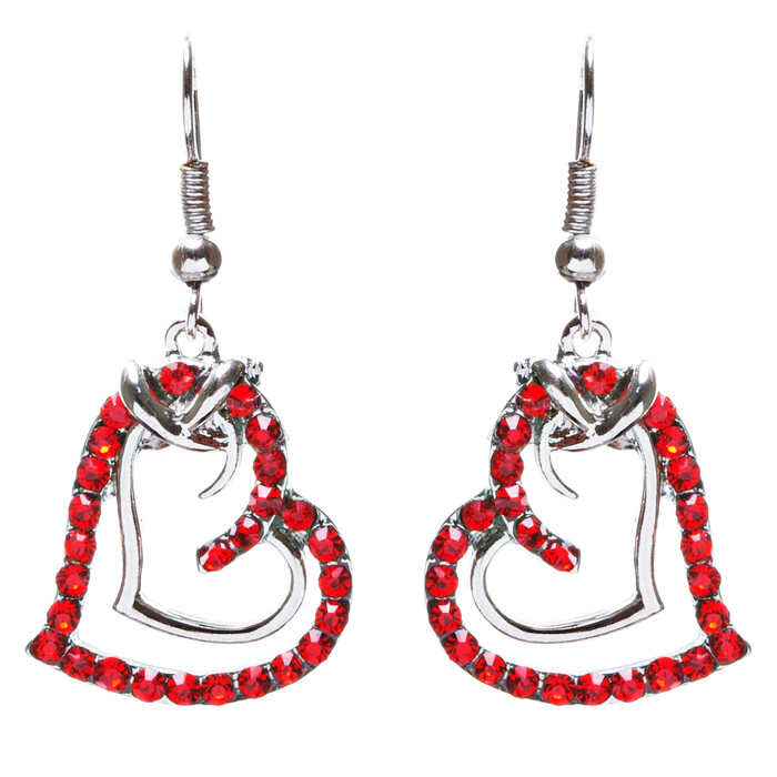 Charming Valentine Theme Fashion Crystal Rhinestone Heart Earrings E906 Red