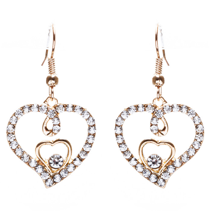 Adorable Valentine Theme Fashion Crystal Rhinestone Heart Earrings E908 Gold