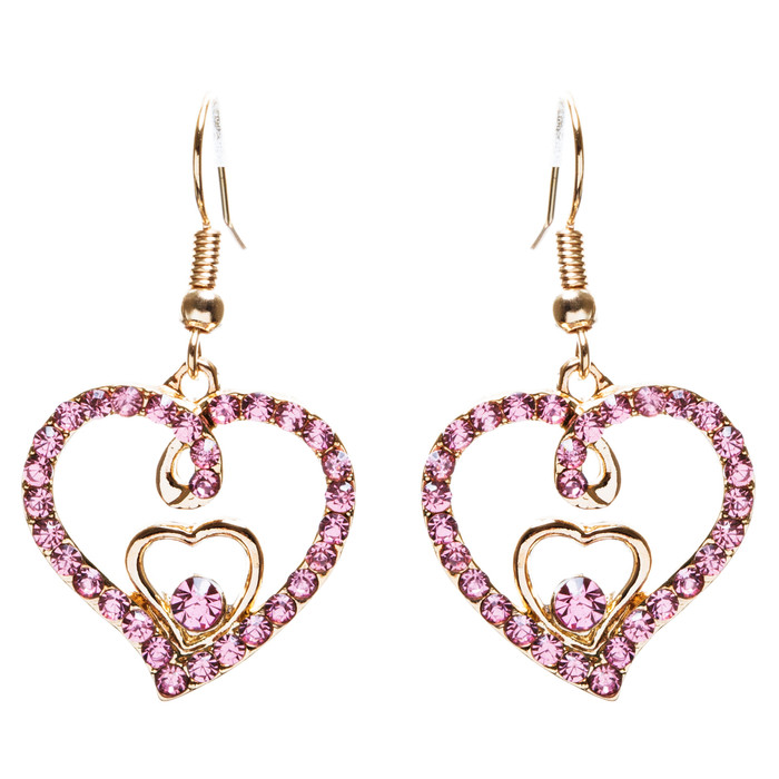 Adorable Valentine Theme Fashion Crystal Rhinestone Heart Earrings E908 Pink