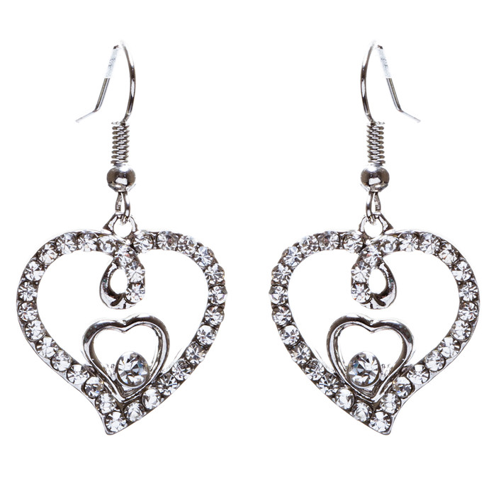 Adorable Valentine Theme Fashion Crystal Rhinestone Heart Earrings E908 Silver