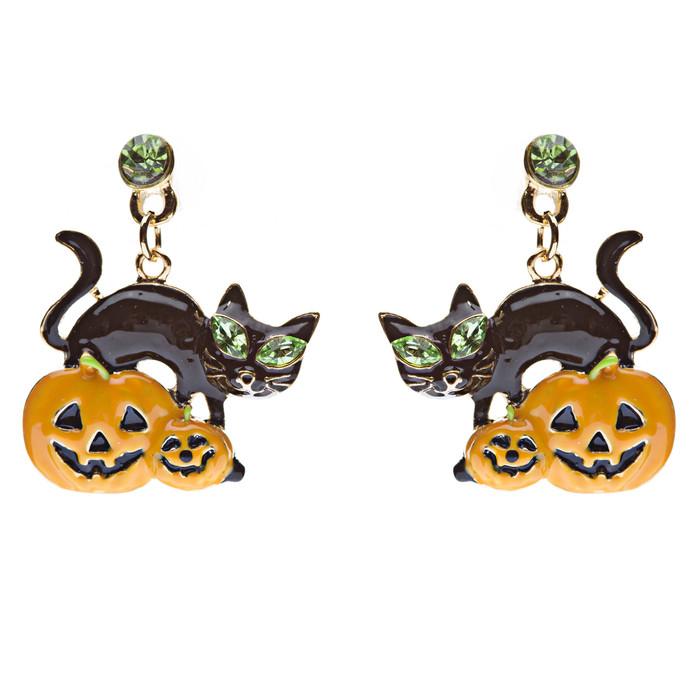 Halloween Jewelry Pumpkin Black Cat Crystal Earrings