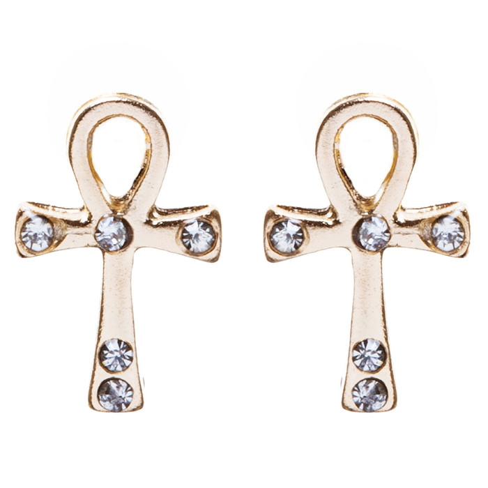Cross Jewelry Crystal Rhinestone Lovely Cross Charm Stud Earrings E910 Gold