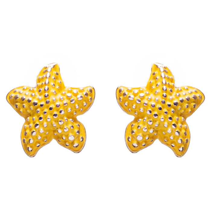 Nautical Jewelry Adorably Cute & Tiny Starfish Stud Earrings E932 Yellow