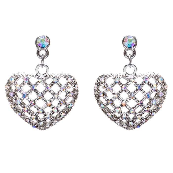 Valentine's Day Jewelry Crystal Rhinestone Charming Heart Dangle Earrings E933SV