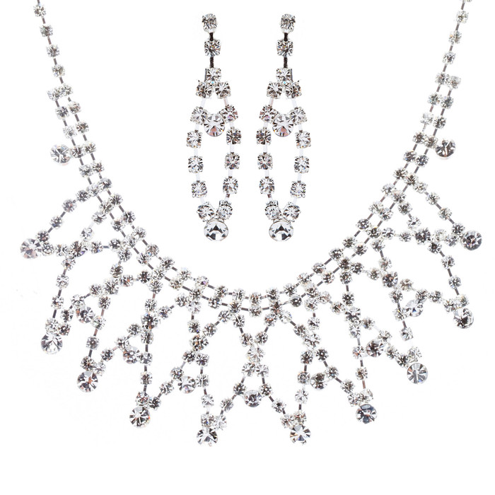 Bridal Wedding Jewelry Crystal Rhinestone Stunning Intertwined Necklace J565 SLV