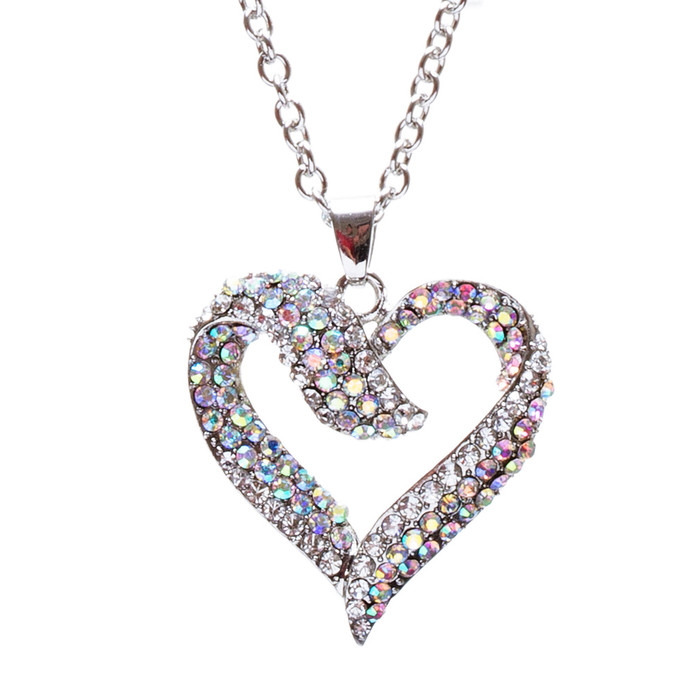 Valentines Jewelry Crystal Rhinestone Beautiful Heart Pendant Necklace N90 SV