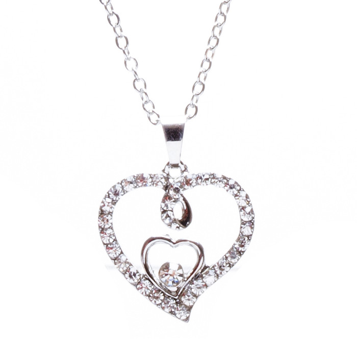 Valentines Jewelry Crystal Rhinestone Gorgeous Hearts Necklace N91 Silver