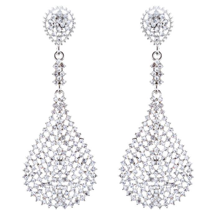Bridal Wedding Jewelry Crystal Rhinestone Dazzling Dangle Earrings E1015 Silver