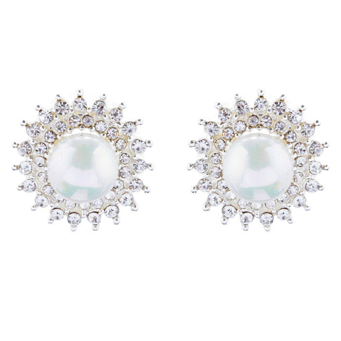 Bridal Wedding Jewelry Crystal Rhinestone Pearl Sunburst Earrings E1017 Silver